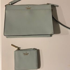 Kate Spade mint colored crossbody bag and wallet.